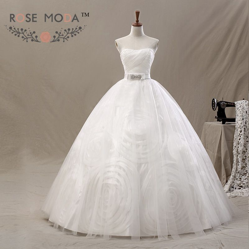 3D Swirled Tulle Wedding Ball Gown Lace Up Crystal Bow Bridal Gown Vestidos de Noiva Real Photos