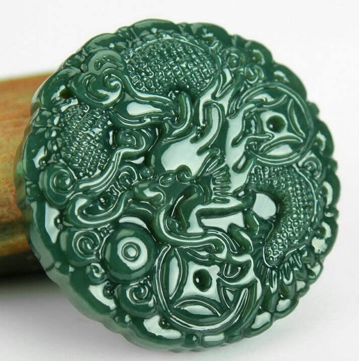 Natural Stone Black Green Carved Chinese Dragon Kylin Lucky Blessing Pendant + Rope Necklace Fine Jewelry wholesales