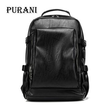 PURANI High Capacity Large Men Travel Backpack Bag Black Leather Man Backpack For Men Trip Laptop Backpack mochila masculina NEW