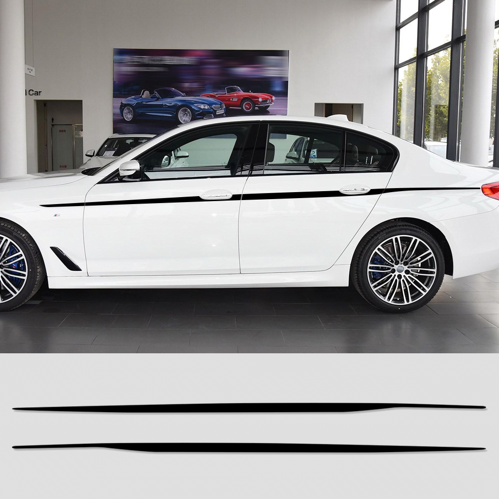 2pcs M Performance Door Side Stripe Sticker Decal Waist Line Racing Body Decal Decoration for BMW 5 Series G30 G31 Accessories