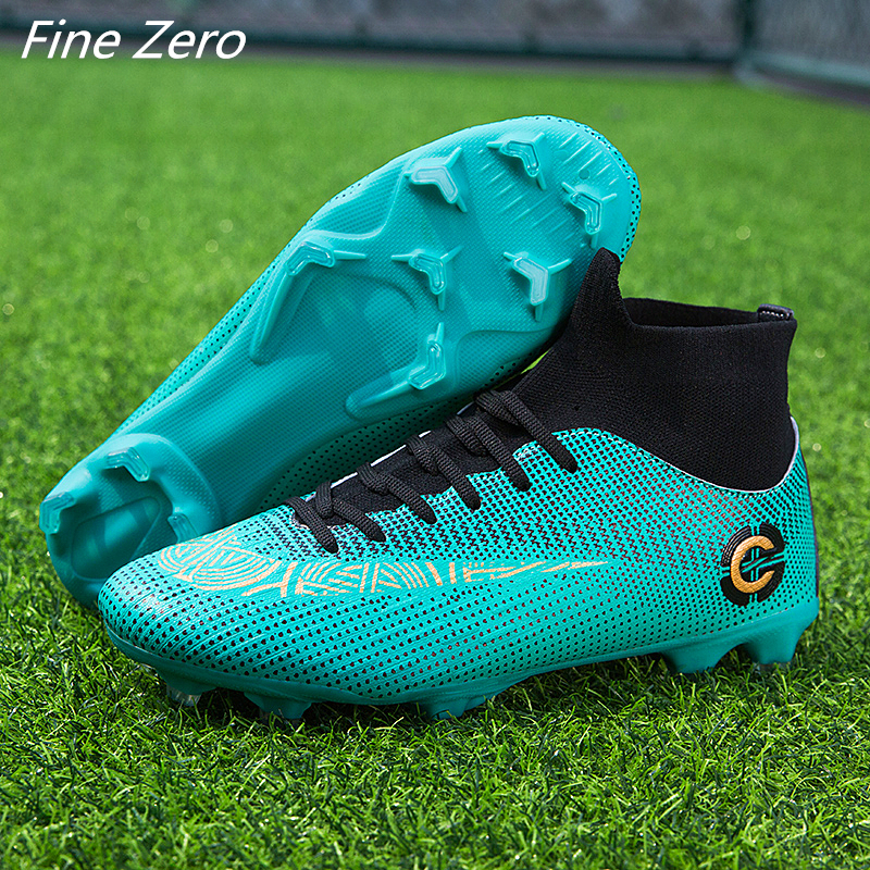 New Trend Adults Men's Outdoor Soccer Cleats Shoes High Top TF/FG Football Boots Training Sports Sneakers Shoes Plus Size 33-45