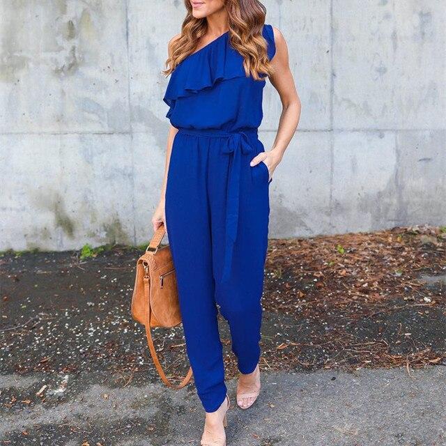 770445df1 Pofunuo Ruffle one shoulder jumpsuit blue Women summer casual tie waist  playsuit rompers wine green Black overalls
