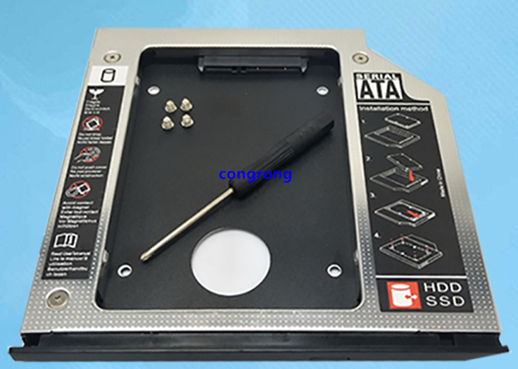 NEW 9.5mm SATA 2nd SSD HDD Caddy For HP EliteBook 2530p 2540p DVD-ROM Hard Disk Drive Caddy