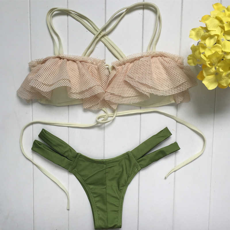VIAOLI Sexy Bikini Set Micro Split Gevlochten Touw Bangdage Hollow Out Badmode Groen Solid Bottom Badpak Zomer Beach Party