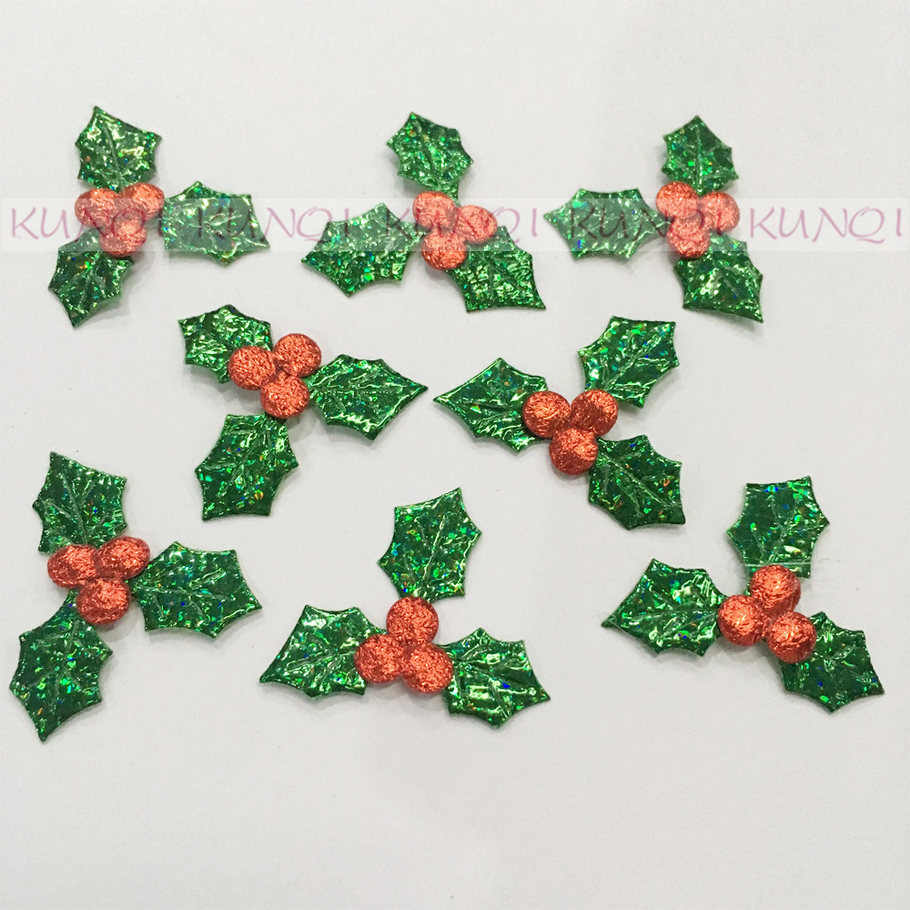 DIY Laser Holly Berries and Leaves Appliques for Christmas Decoration Patches