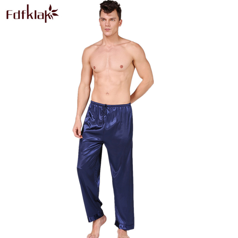 M-3XL Plus Size Pajamas Pant Men Silk Satin Sleepwear Pants Lounge Home Wear Pijama Pants Long Bottom Sleep Pant Male Trouser