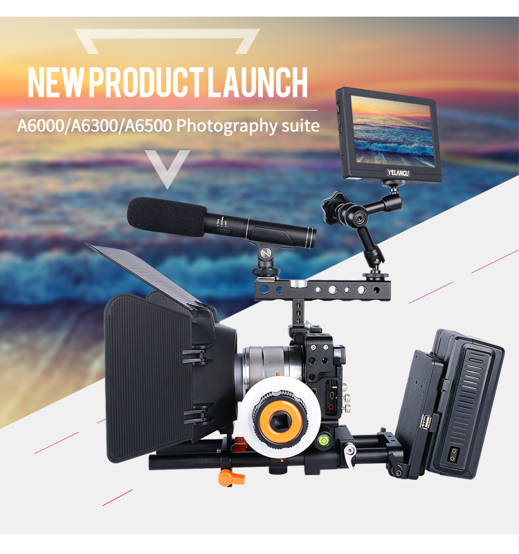 Camera Accessaries Filming Equipment Camera Cage Aviation Aluminum Handle Grip Cold Shoe Thread Clamp for Sony A6000/A6300/A6500
