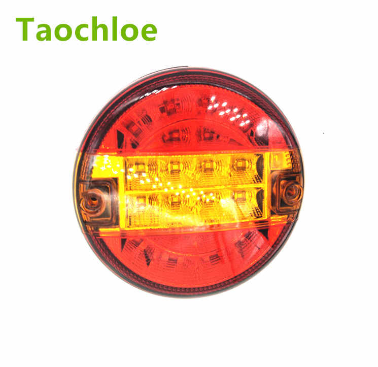 1pair 5.5inch Emark 140mm 20 LED Trailer Truck Stop Tail Lights Amber Turn Signal Round Lamp Caravan Lorry Van Rear Light