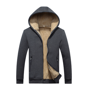 Image 4 - New Arrival Winter Thickening Hoodies Men Casual Jacket Fur Lining Solid Warm Cloth Zipper Coats Sweatshirts Cashmere Parkas 624