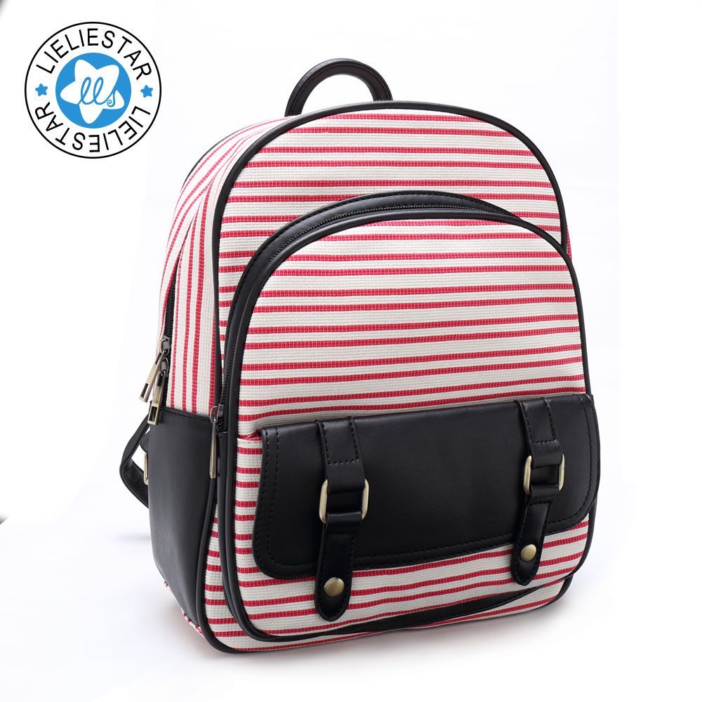 school bags for girls women small backpack striped schoolbag Children s canvas printing sac a dos