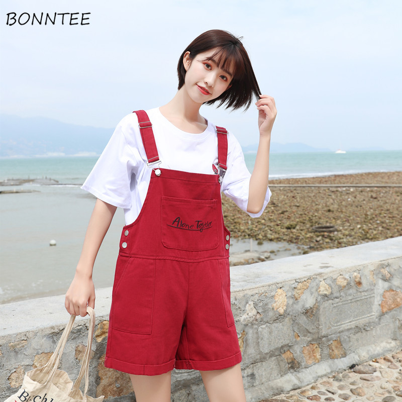 Rompers Women Letter Korean-Style Summer Ladies Chic Girl Simple Soft Embroidery Loose