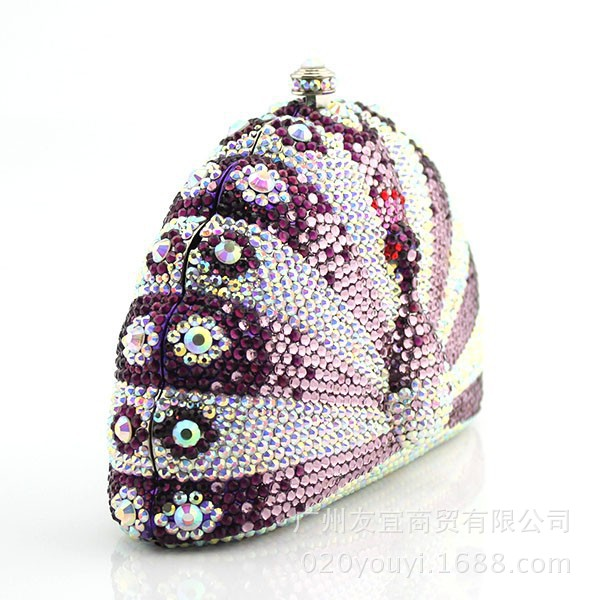 custom-made high-end flat-bottomed crystal peacock clutch pack evening pack luxury dress pack European and American