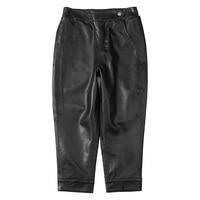 EI BAWN Leather Harem Pants Women Black Casual Classic Loose Vintage Female Sheepskin Trousers Genuine Leather Ladies Pants