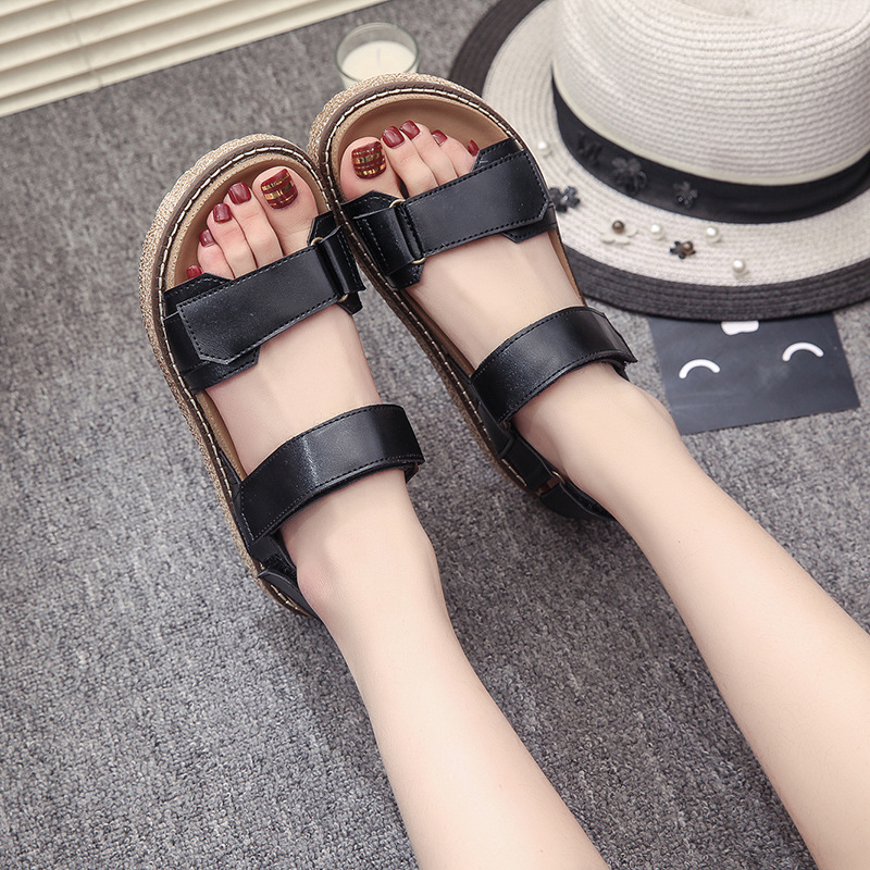 Gladiator Sandals 2017 Summer Style Comfort Flats Casual Creepers Platform PU Shoes Woman Casual Beach Black Sandals Plus US 8 phyanic summer gladiator sandals beach platform shoes woman wedges sandals slip on flats creepers casual women shoes phy3337