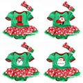 X'mas Green Bodysuit Jumpsuit Romper Red Snowflake Pettiskirt Baby Dress Headband NB-18M MAJS0068