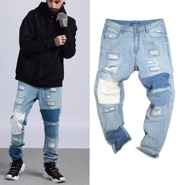 372f7f84736aa 2018 nuevo Justin Bieber fog hombres rasgados los pantalones vaqueros hip  hop moda casual diseñador flaco