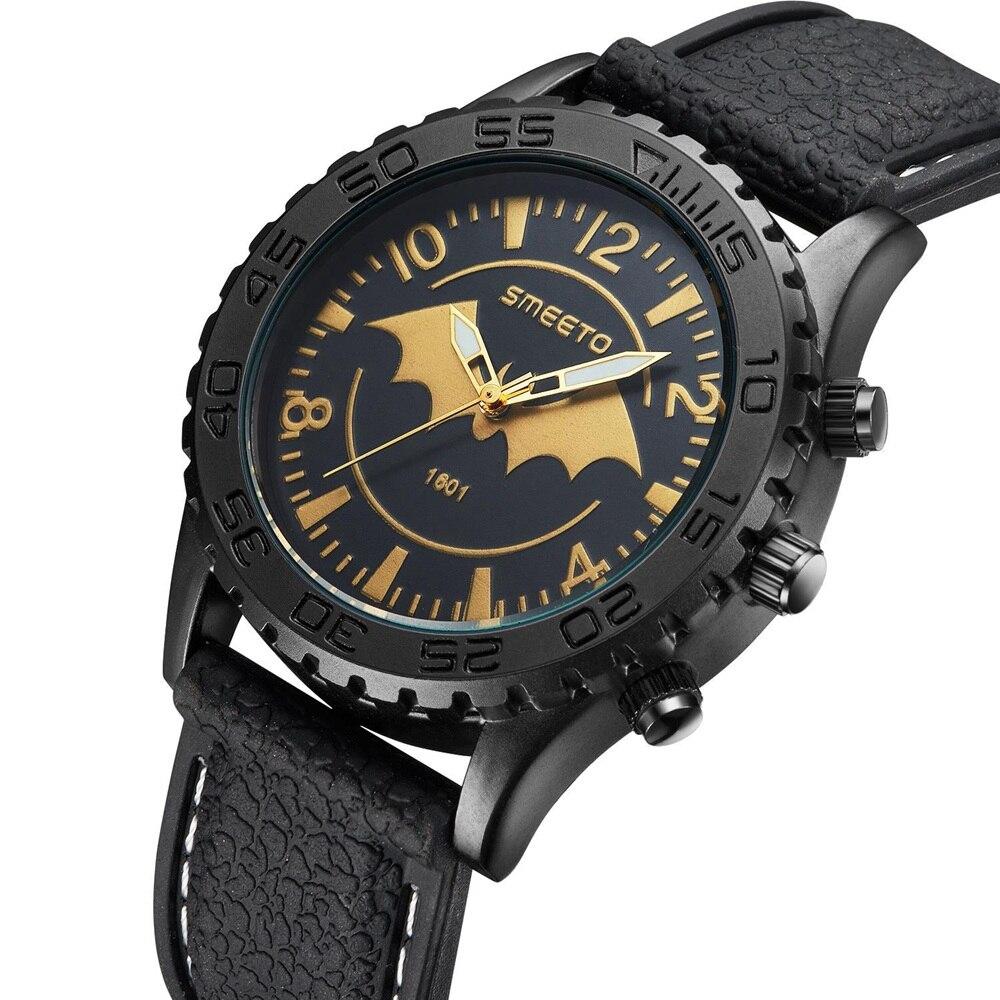 2016 Men Watches batman Top Brand Luxury Quartz Watch Casual Leather Sport Wrist watch Montre Homme