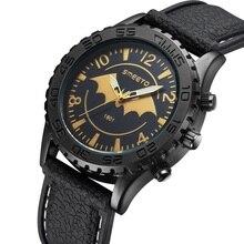 2016 Hommes Montres batman Top Marque De Luxe Montre À Quartz Casual En Cuir Sport montre-Bracelet Montre Homme Homme Horloge relogio masculino