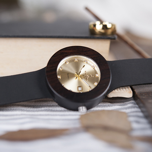 Image 3 - BOBO BIRD Womens Watches Women Retro Wooden Ladies Wristwatch relogio feminino with Black Leather Straps Calendar