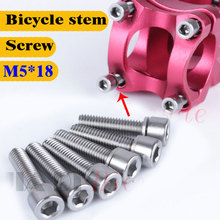 цена на 6PCS Bicycle Headset Stem Cap Screw Ultralight Stainless Bicycle Seat Disc Bolt M5 * 18mm Mountain Bike Road Bike Riser Screw