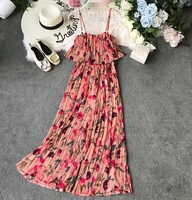 2019 New Fashion Women's Rompers Summer Floral Chiffon Strap Bohemian Pleated Ruffled Jumpsuit Seaside Outfits Nancylim