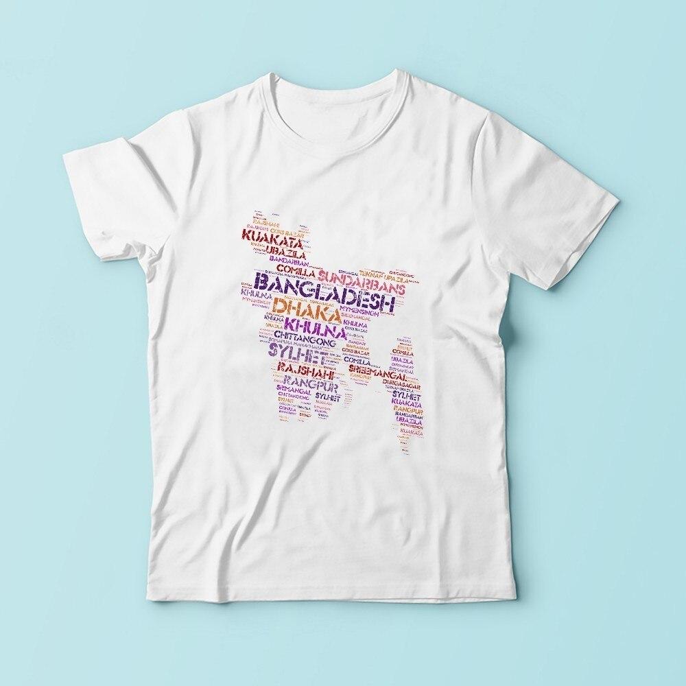 Бангладеш название города слова облако карту Футболка мужская 2018 Летний Новый белый с коротким рукавом Повседневная homme футболка высокой ч...