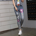 Verão europeu 2016 maré de moda Slim Lips lantejoulas personalidade gado mulheres olhos dos desenhos animados frisado cowgirl atraente calças Jeans femininas