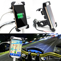 HOT Motorcycle Bicycle Phone Holders Mount Bracket USB Adapter Charger For 3.5-7inch Mobile Phone GPS MP3 Charger