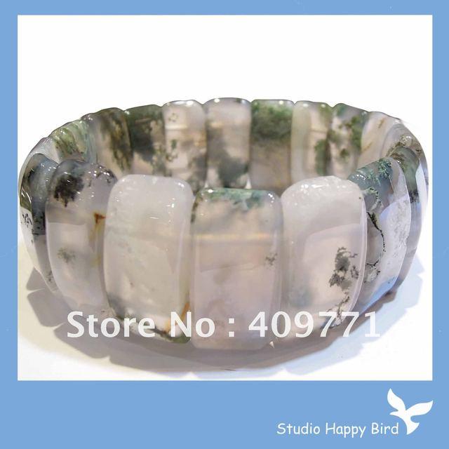 Wholesale  Bracelet Free Ship EMS/DHL 10pcs(2 items) /Lot: Natural stone Bracelet Moss Agate Domed Bangle Stretch Bracelet