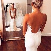 Simple Beach Wedding Dresses Backless V-neckline Chiffon Mermaid Gowns vestidos de novia 2019 Bride Dress
