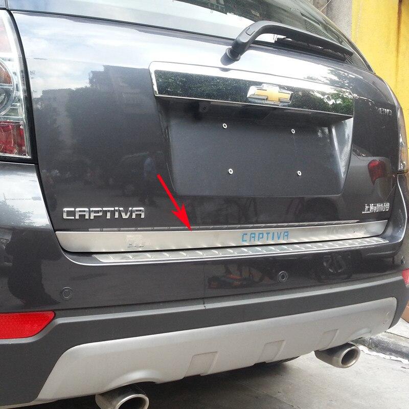 עבור 2007-2018 שברולט קפטיבה גבוהה באיכות נירוסטה Chrome האחורי Trunk כיסוי Trim רכב סטיילינג