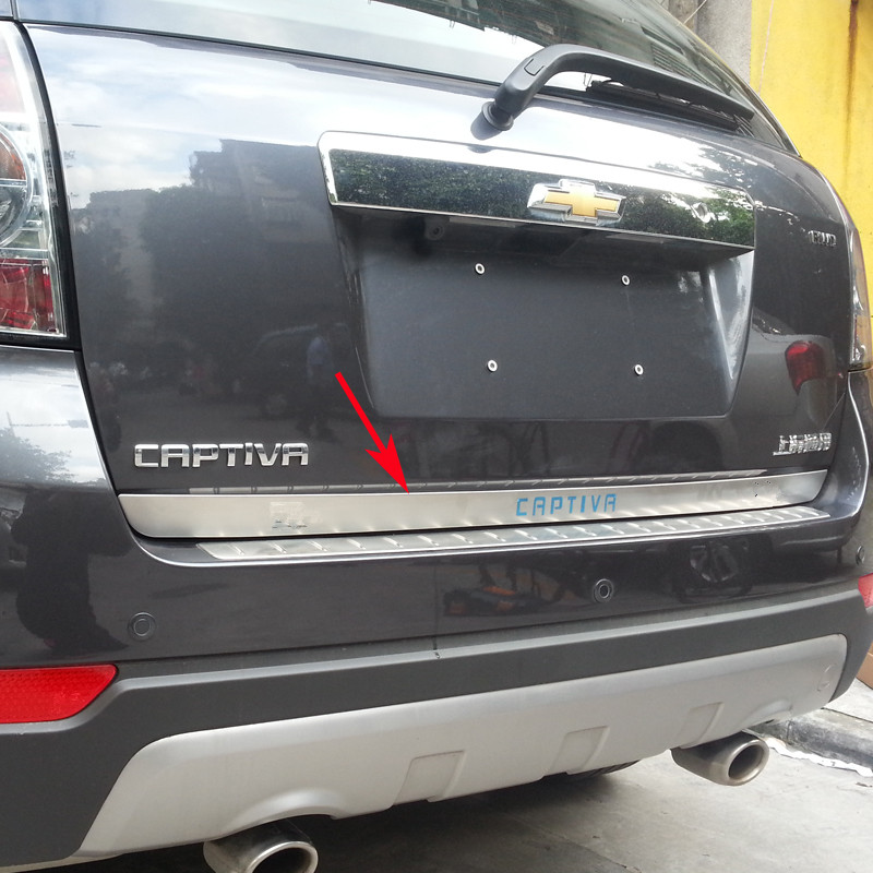 Para 2007-2018 chevrolet captiva aço inoxidável de alta qualidade chrome tronco traseiro tampa capa guarnição estilo do carro