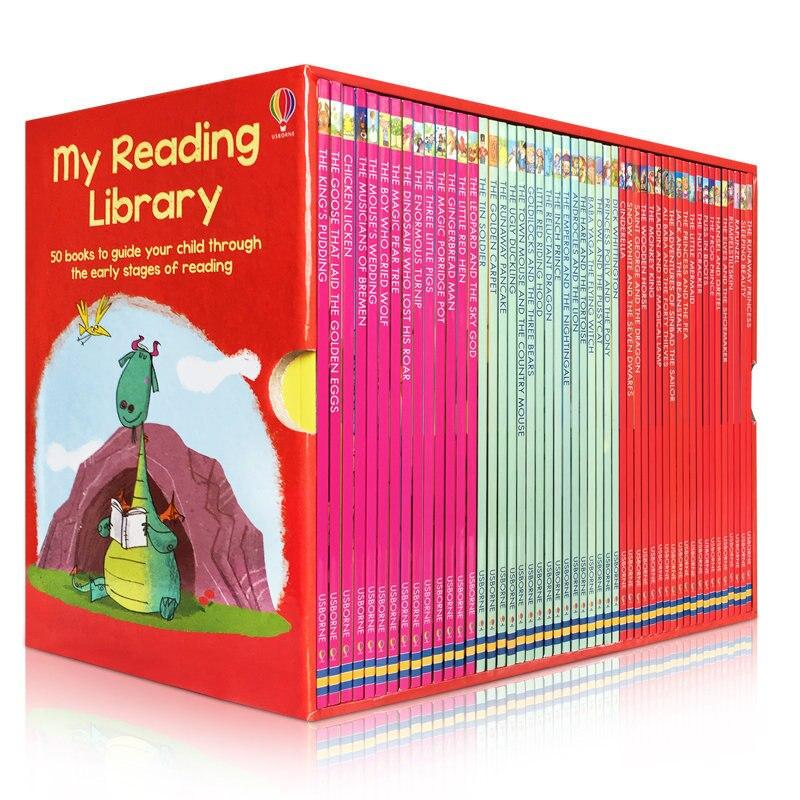 50 kitap/set Usborne İkinci Okuma Kütüphane İngilizce Resim hikaye kitabı çocuklar kelime öğrenme kılavuz çocuk okumak erken aşamaları'da  Grup 1