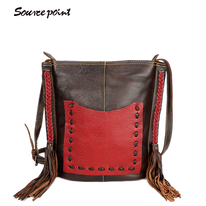 SOURCE POINT Fashion Leather Handbag Women Tassel Shoulder Bag Ladies Tote Bag Shopping bags Leisure HandBag Woven YD-06630#