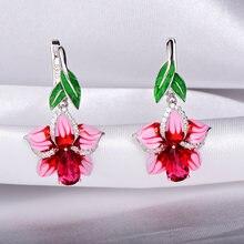 Женские серьги из серебра 925 пробы с эмалью и розовым цветком