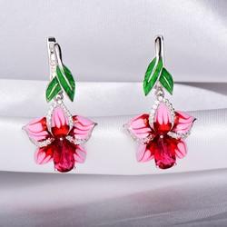 Rainmarch богемный эмаль розовый цветок Серьги серебро для Для женщин Обручение 925 серебро серьги ручной работы партия ювелирных изделий