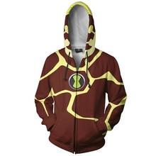 Fans Wear 3d Printed Hoodies AnimeBen 10 Alien Force Hooded Sweatshirts Heatblast Sweatshirt Halloween Cosplay Men Hoodie