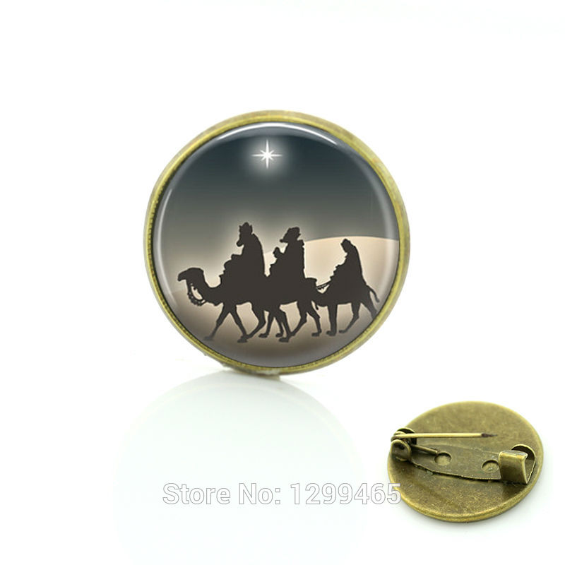 2017 Promotion Glass Pin Three Wise Nativity Bethlehem Jewelry New Year Gift Vintage Christmas Deer For Friends Brooches C259
