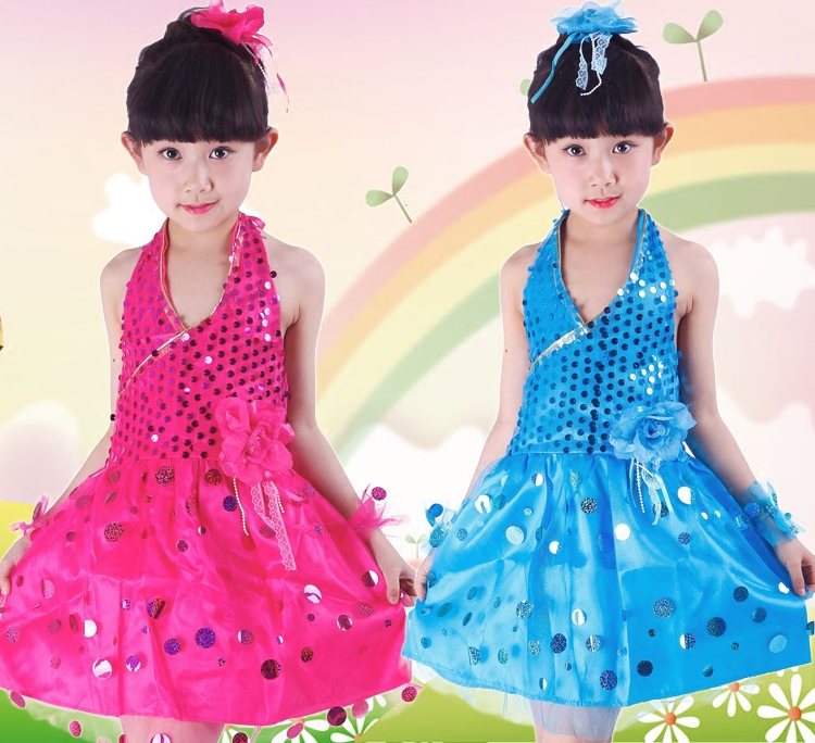 New Jazz Dance Costumes For Girls Tutu Skirt Sequins Dress Kids Sequin Hip Hop Suit Children'S Day Stage Performance Wear DN1890