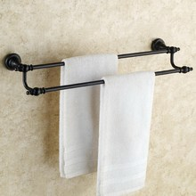 Black Oil Rubbed Brass Wall Mounted Double Towel Bar Towel Rack Towel Holder Bathroom Accessories KD608 oil rubbed bronze bathrrom dual towel bar towel hanger soild brass wall mount