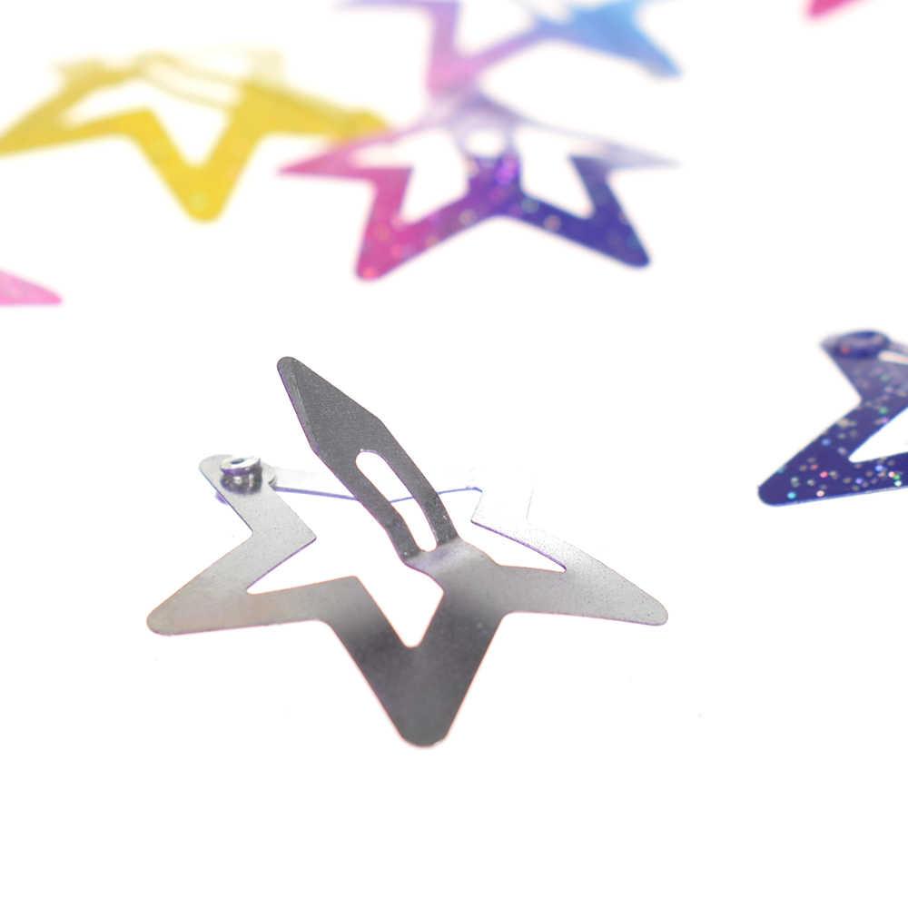 12 Pcs/set star butterfly shape hair snap clips 2.5 cm glitter pentagram metal hair clips cute bling bling hairpins