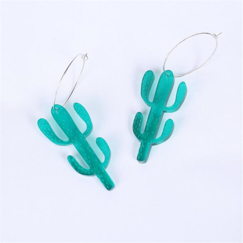 2018 Newest <font><b>Parker</b></font> Style Green Cactus Acrylic Earring Exaggerated Jewelry Girl Fashion <font><b>Dress</b></font> Chic Big Round Drop Earrings Hot