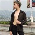 S-4XL НОВЫЙ мужской Моды перспектива шифон солнцезащитный крем рубашку с длинными рукавами мужчин случайные свободные Прозрачный солнце затенение одежда