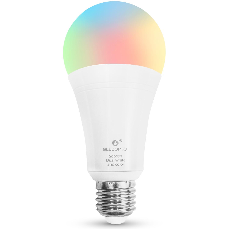 GLEDOPTO LED ZIGBEE ZLL3.0 12W RGB+CCT bulb Colorful bulb AC100-240V RGBCCT 2700-6500K LED bulb Compatible with Amazon echo plus