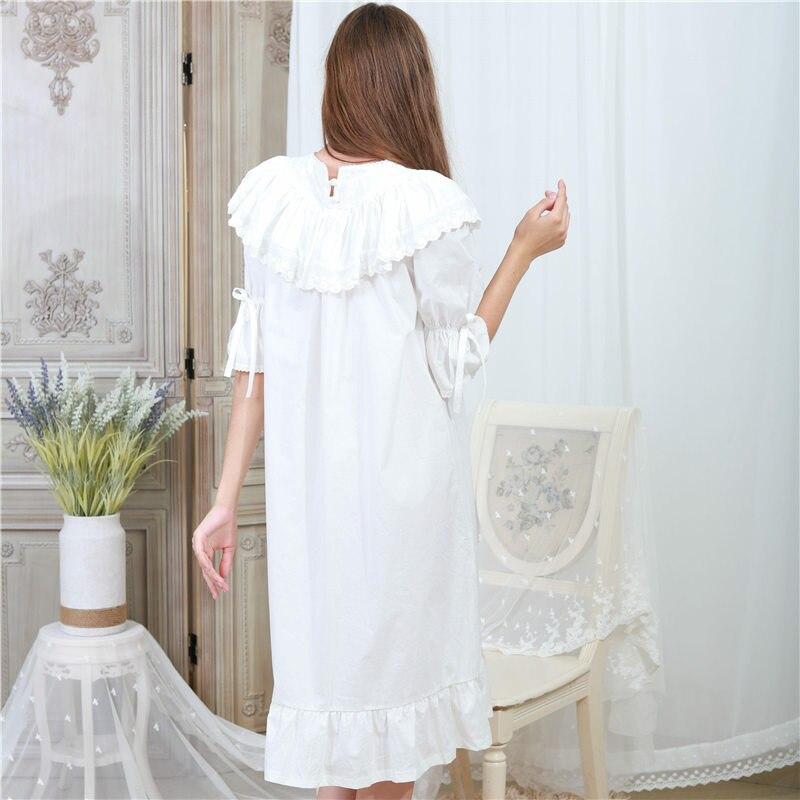6e9fd09fa2 Victorian Autumn Sleepwear Women Plus Size Nightgown Long Sleep Shirt Slash  Ruffle White Lace Cotton Night Wear Home Dress T317-in Nightgowns    Sleepshirts ...