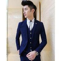 (Kurtki + Spodnie + Kamizelka) Moda męska Boutique Pure Color Jelenie Dekoracji Pana Młodego Suknia Ślubna Garnitury/Mężczyzna Slim Garnitury