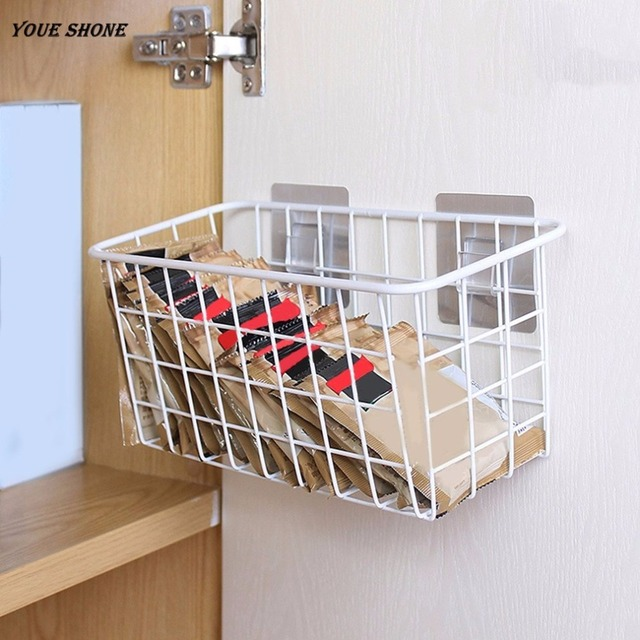 High Quality Youe Shone Metal Storage Shelf Adhesive Type Kitchen Rack Holder Organize  Storage Rack Hooks Home Hanging