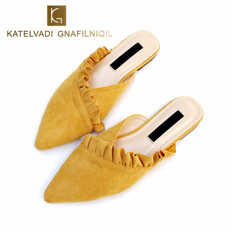 f278026ad Detail Feedback Questions about Women Mules Slides Yellow Slipper Flat Heel  Woman Shoes Autumn Closed Toe Flats Women Slip On Loafers Ladies Mules  Slides K ...