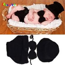 Black Color Baby Boy Crochet HAT Bowtie&Diaper Set Crochet BABY Boy Gentleman Costume Newborn Coming Home Outfit MZS-15021