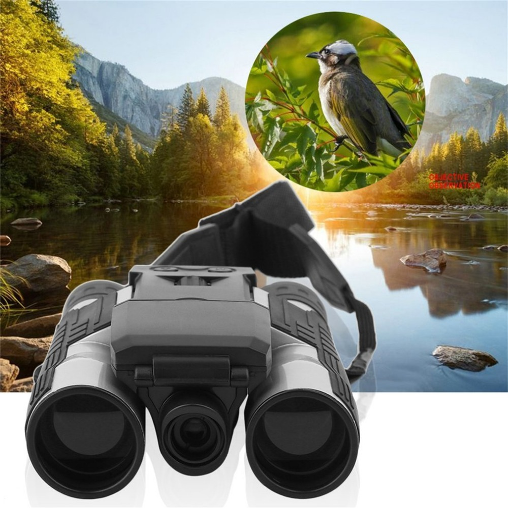 Full HD 1080P Digital Camera 2.0 LCD 12x32 HD Black Binoculars Telescope Folding with Built-in Digital Camera drop Shipping outdoor camping hunting 12x32 hd binocular telescope digital camera 5mp 2 0 tft display full hd 1080p lcd camcorder dv